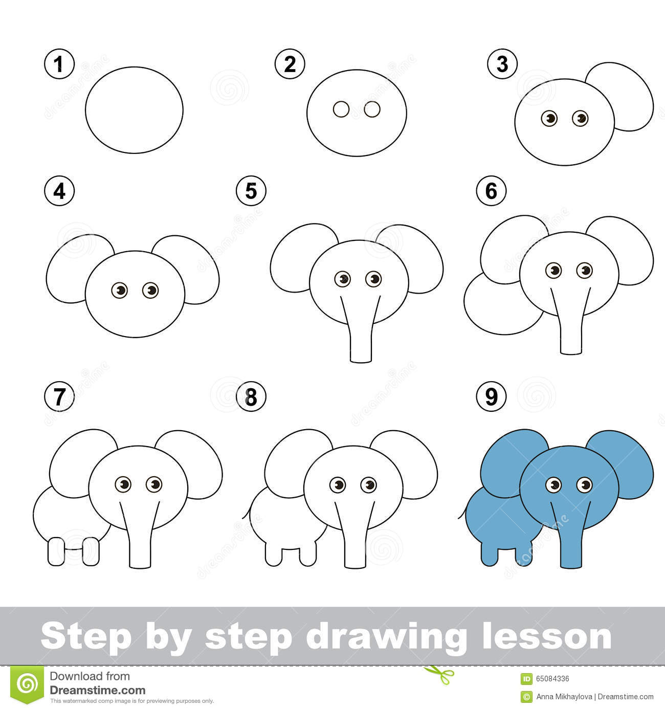 Drawing Tutorial  How To Draw A Elephant Stock Vector