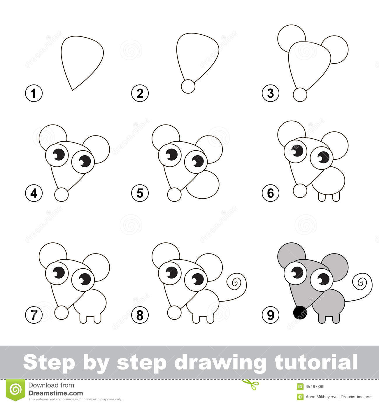 Drawing Tutorial  How To Draw A Little Mouse Stock Vector