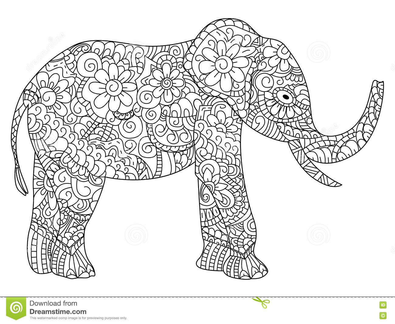 Elephant Coloring Book Vector For Adults Stock Vector