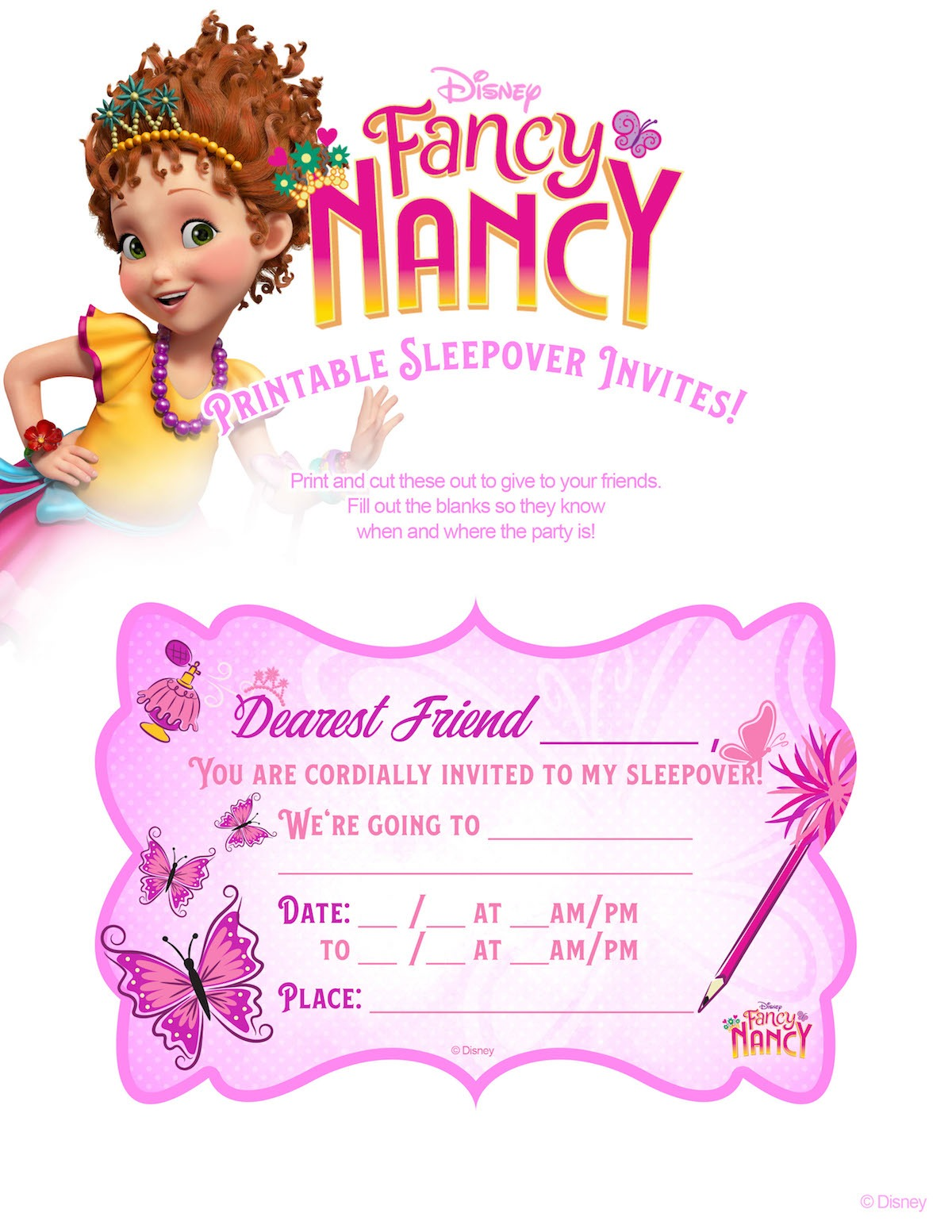 Fancy Nancy Sleepover Invitations