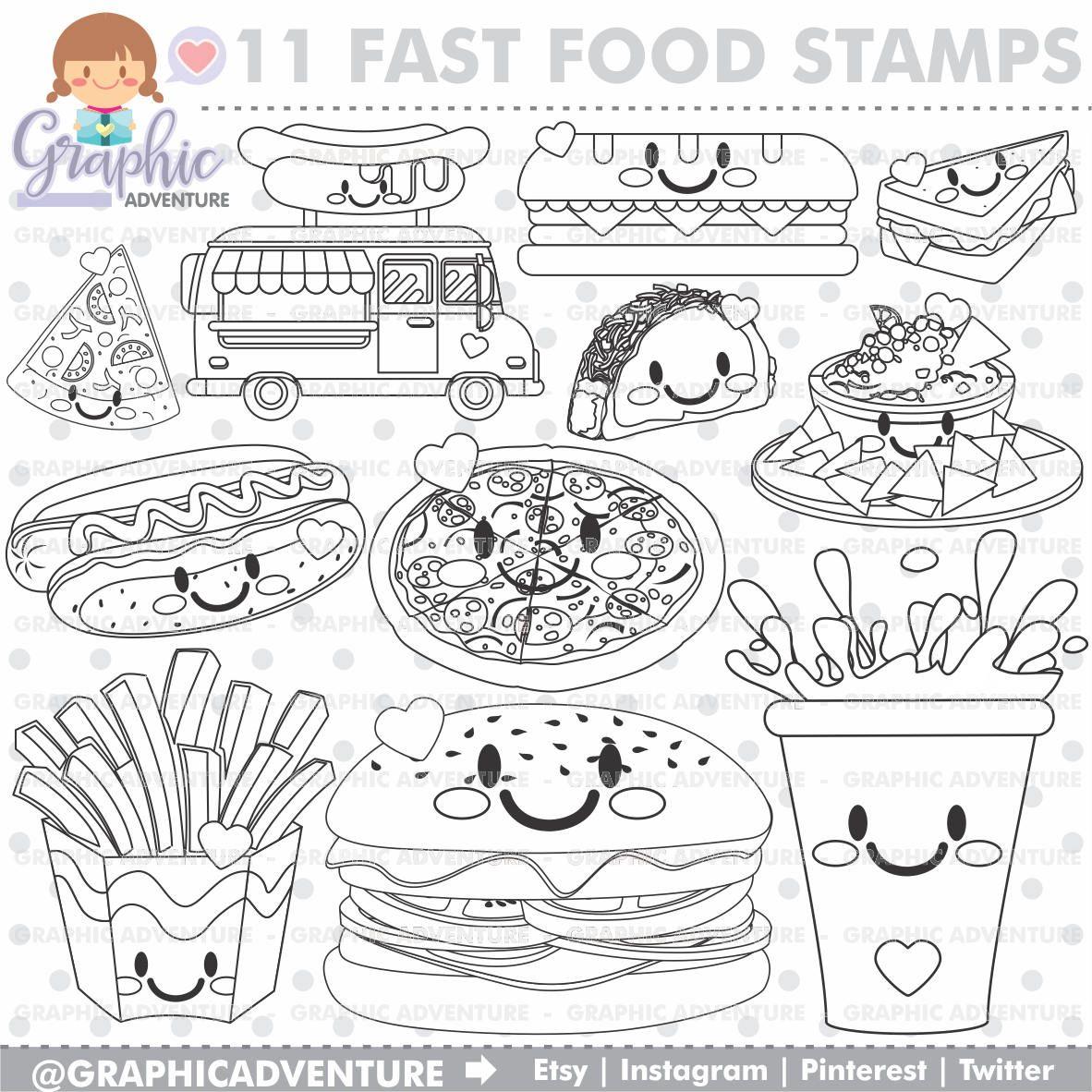 Food Stamps, Fast Food Stamps, Digi Stamp, Digital Stamps, Food