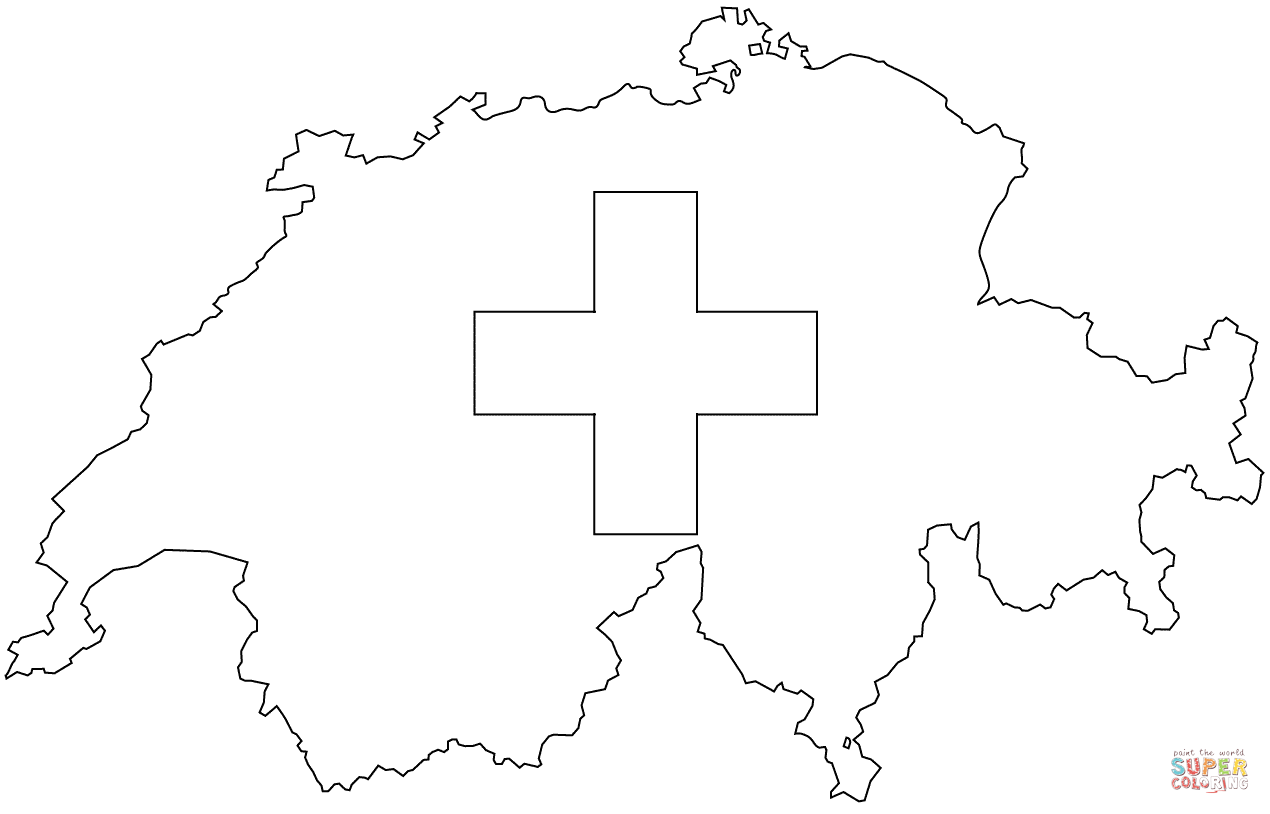 Flag Map Of Switzerland Coloring Page