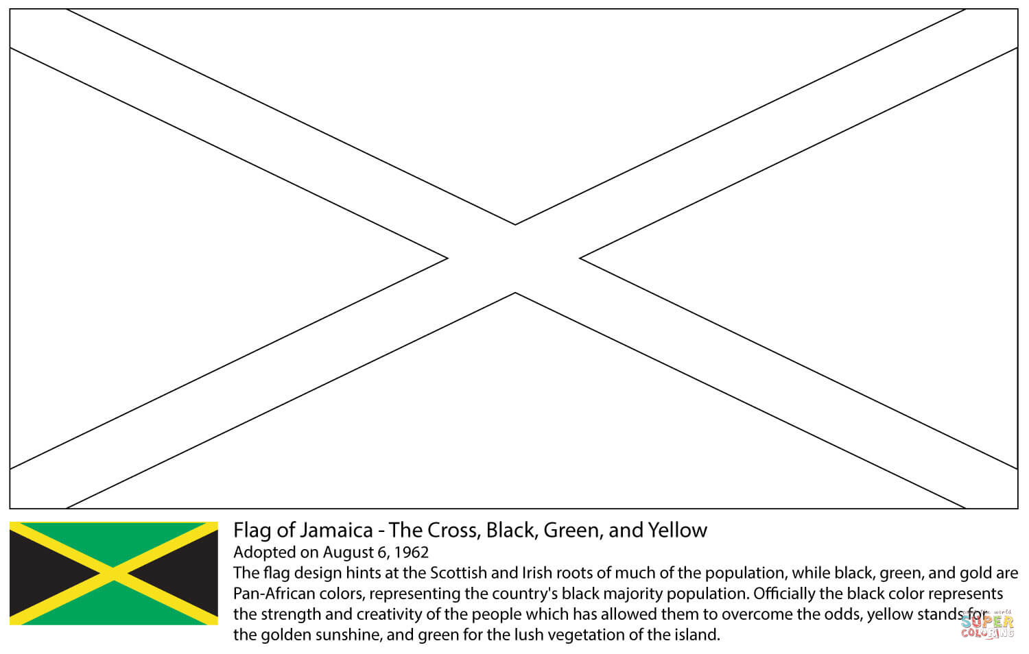 Flag Of Jamaica Coloring Page