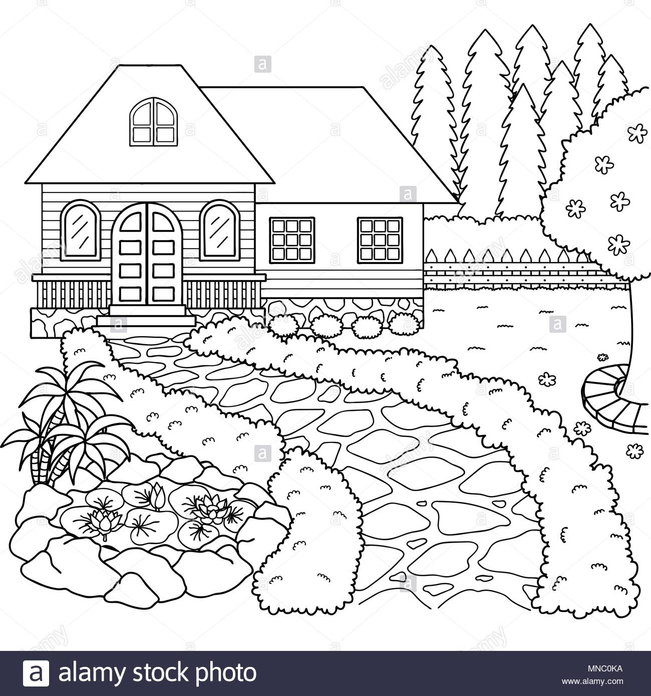Hand Drawn Beautiful House And Garden For Design Element And