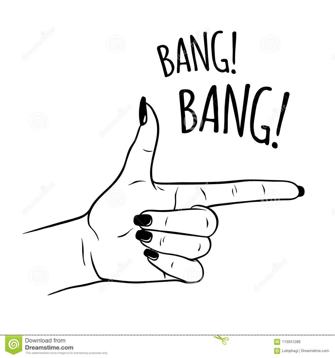 Hand Drawn Female Hand In Gun Gesture  Flash Tattoo, Sticker