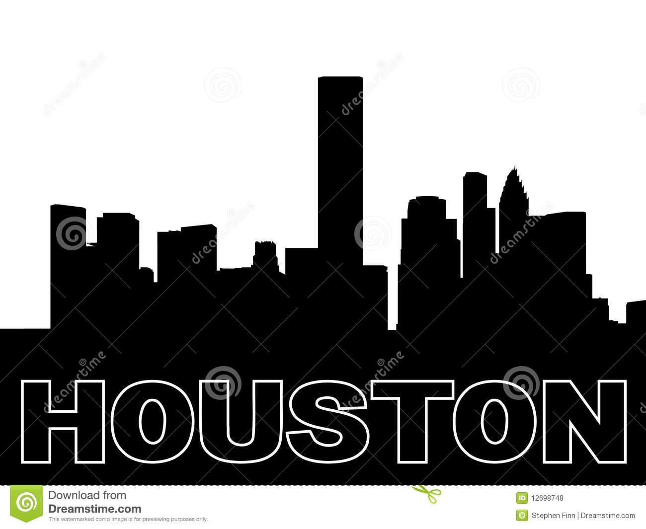 Houston Skyline Silhouette Stock Vector  Illustration Of City