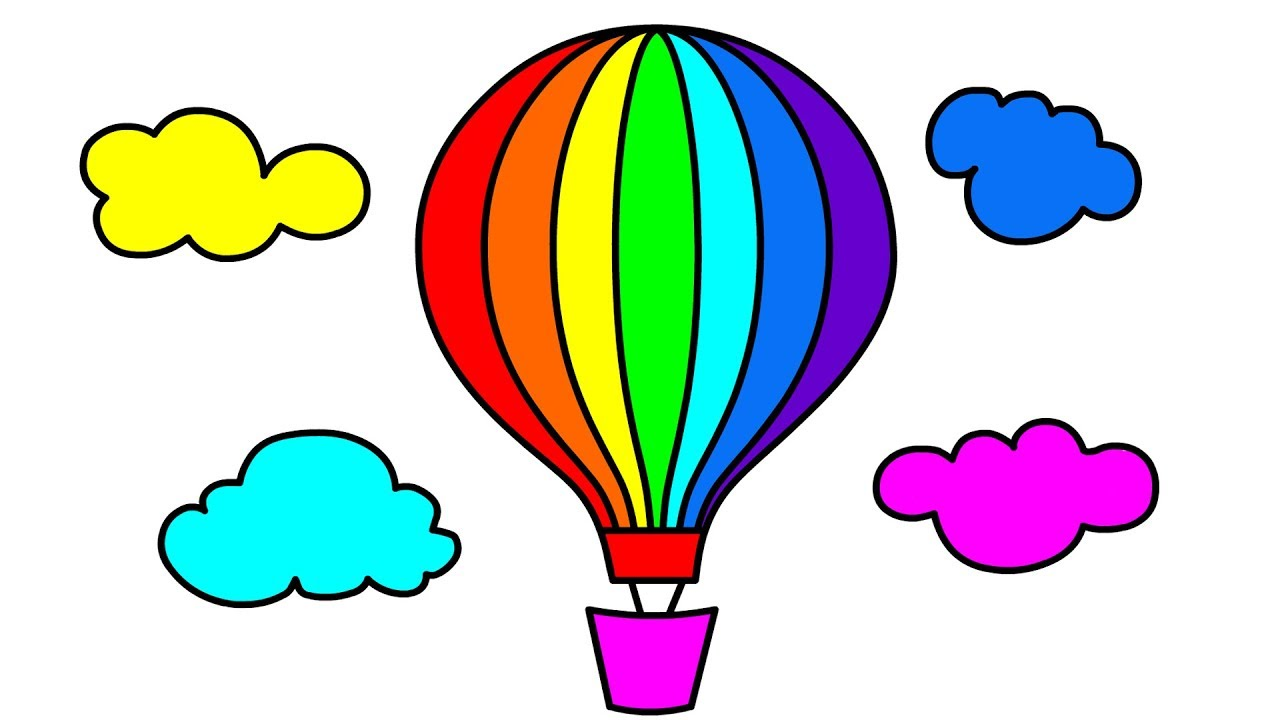 How To Draw Hot Air Balloon In Clouds Coloring Pages For Kids Most