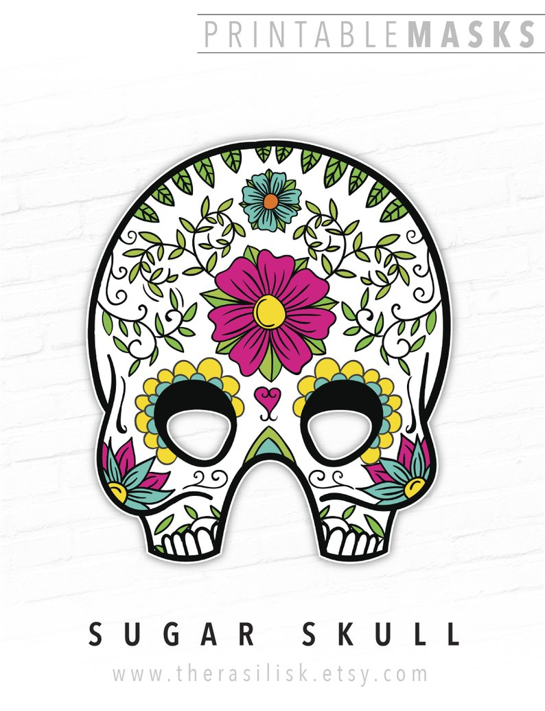 Day Of The Dead Halloween Mask Mexican Sugar Skull Printable