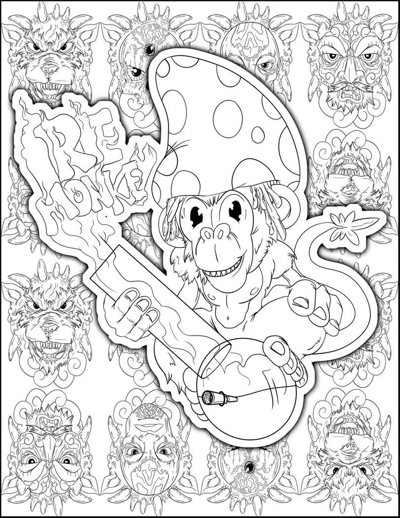 Perfect Stoner Gift Stoner Coloring Page Weed Art Adult