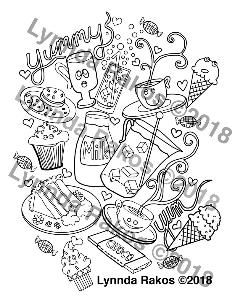 Yummy Coloring Page Cupcake Coffee Cake Printables