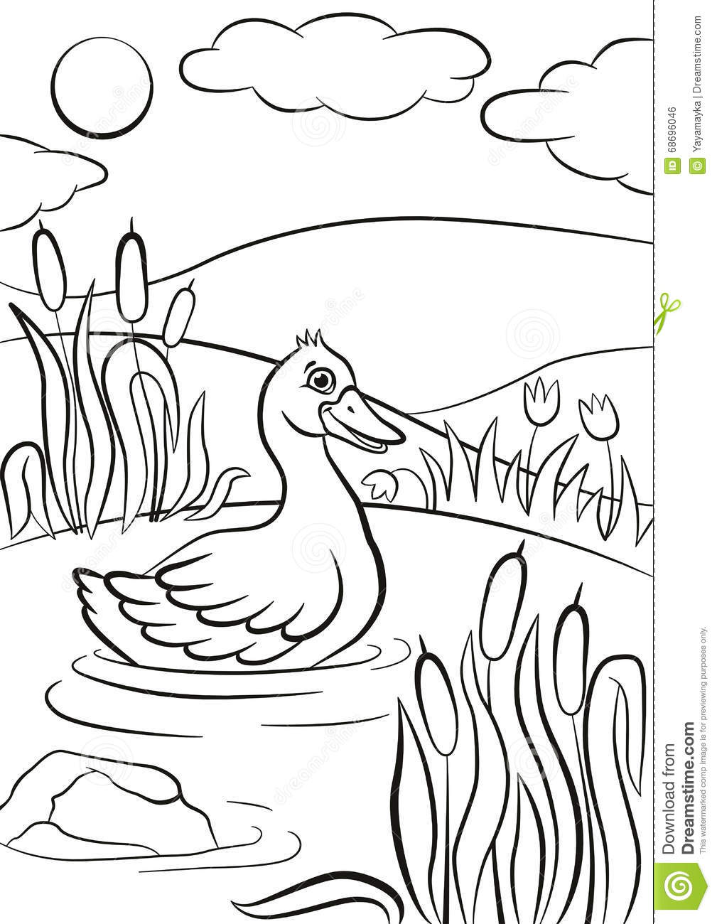 Little Cute Duck Swims On The Pond  It`s Smiling  Stock Vector