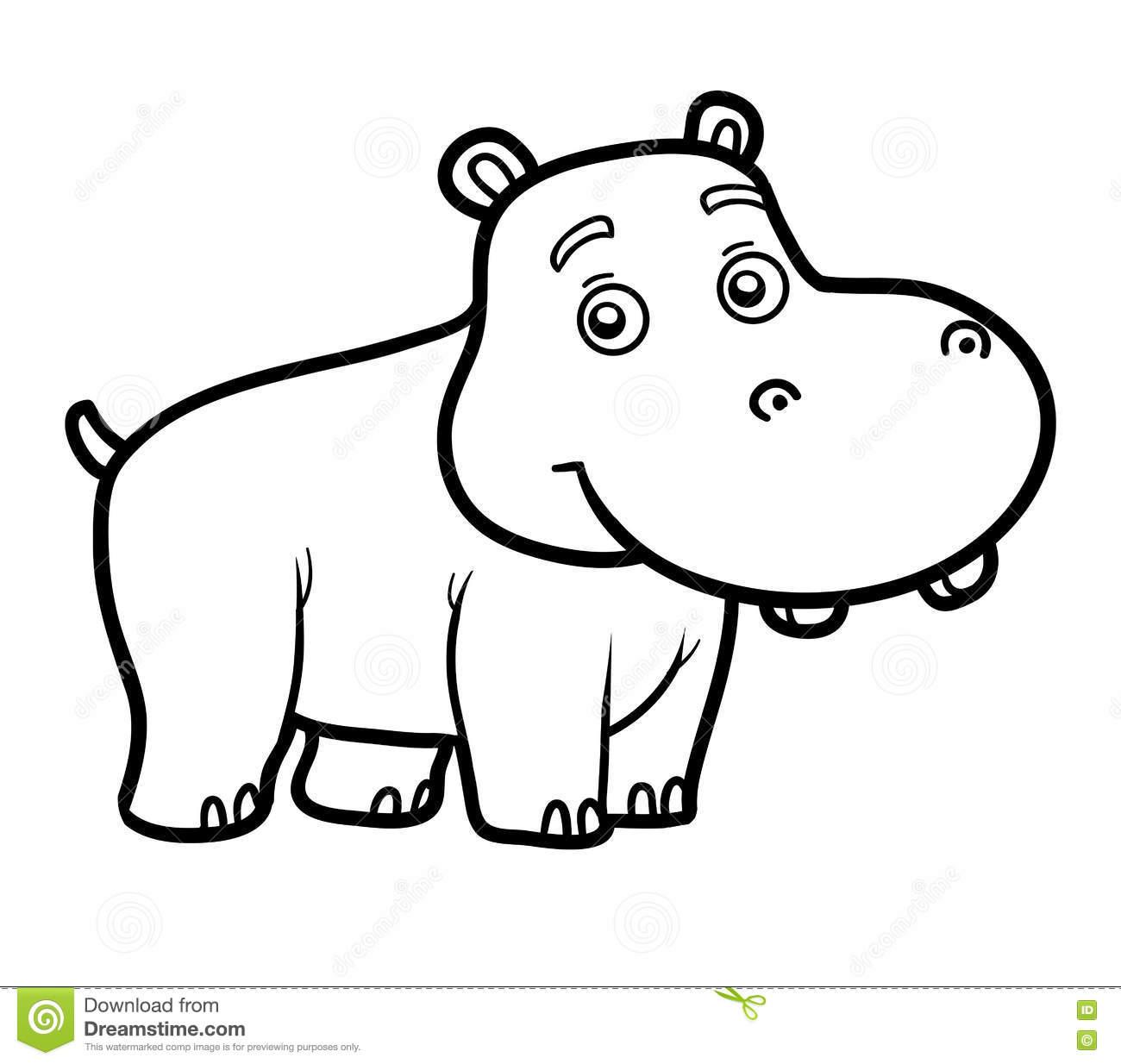 Livro Para Colorir Para Crianças, Hipopótamo Pequeno Ilustração Do