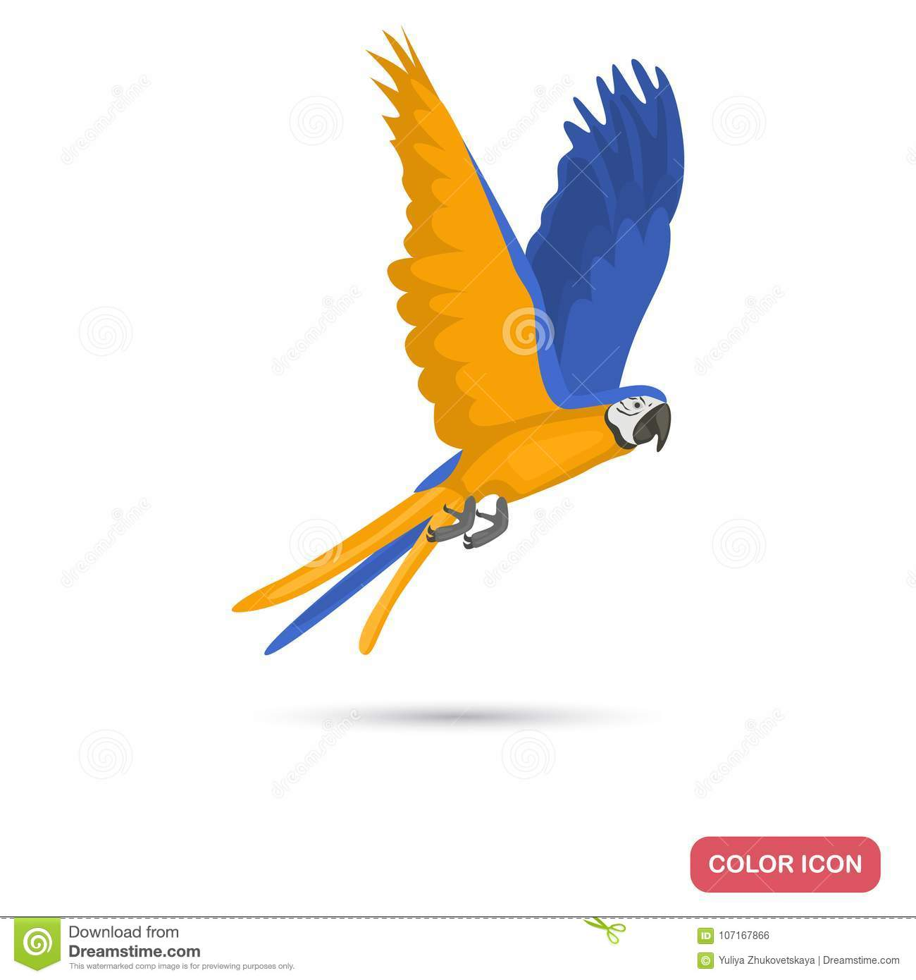 Macaw Parrot Color Flat Icon For Web Adn Mobile Design Stock