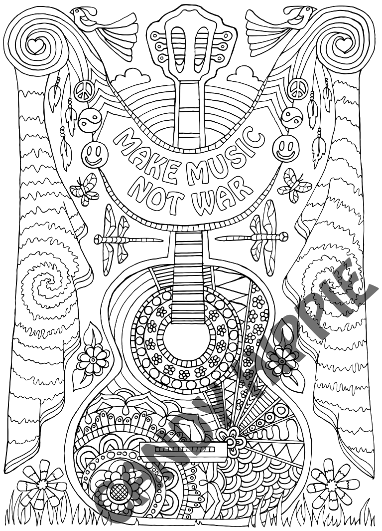 Make Music Coloring Page Printable Pdf By Candy Hippie