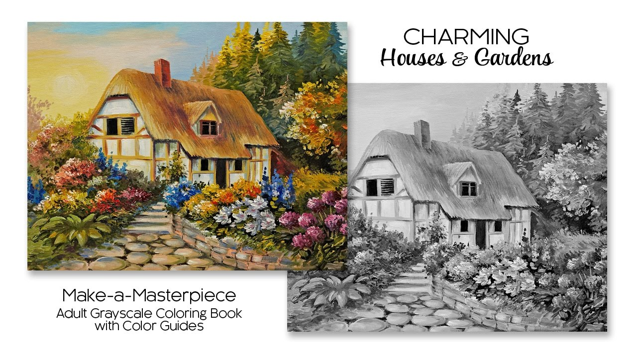 Charming Houses & Gardens ~ Adult Grayscale Coloring Book With