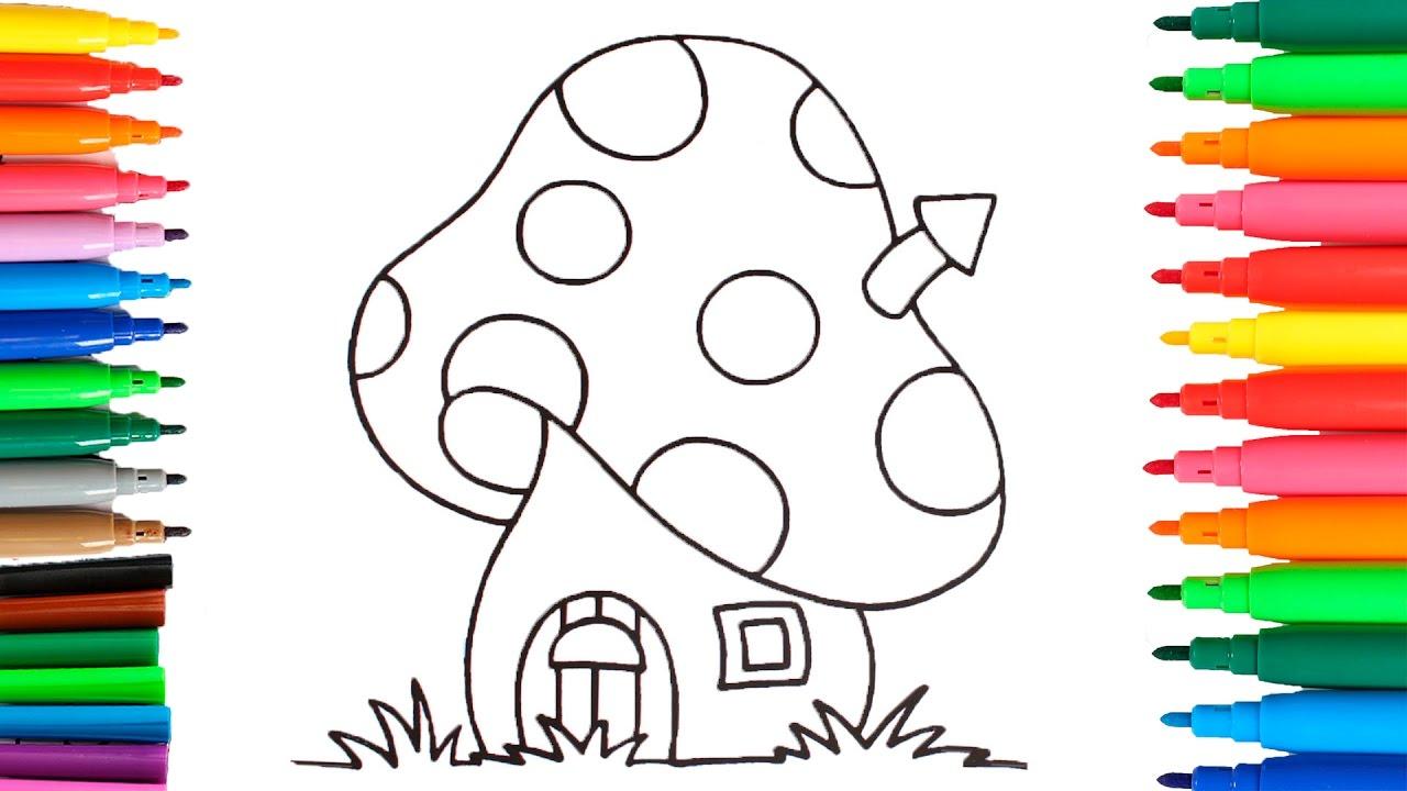 Como Dibujar Y Colorear La Casa De Los Pitufos