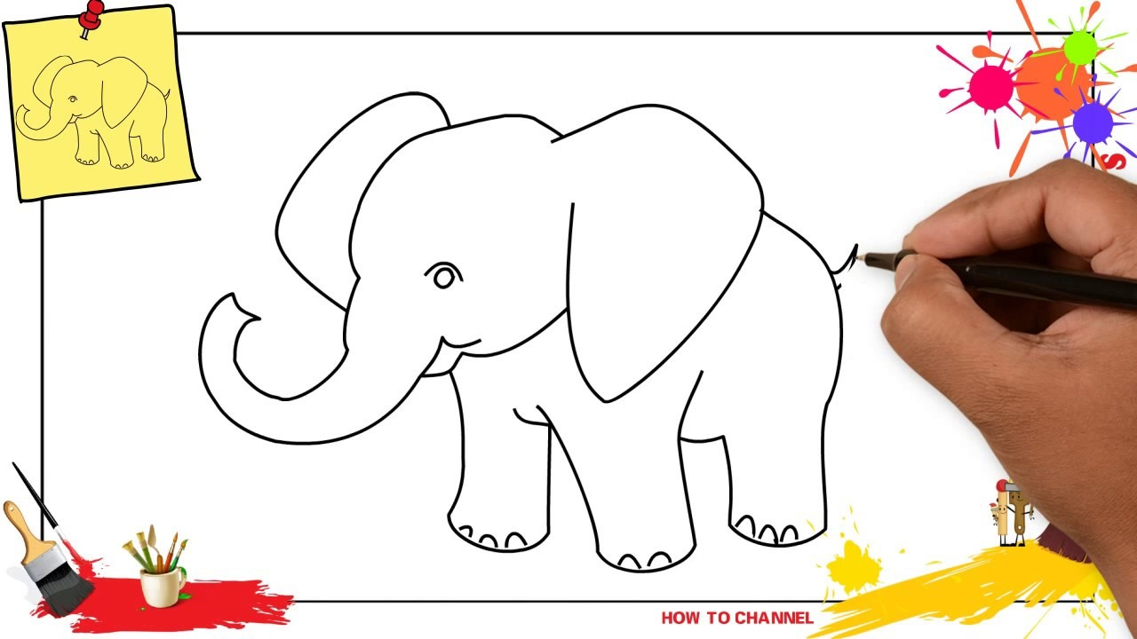 How To Draw An Elephant Simple & Easy Step By Step For Kids And