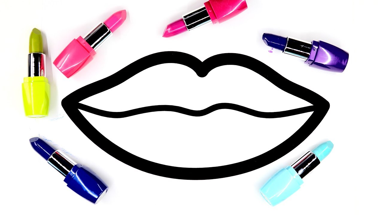 Colouring Lips Coloring Pages With Lipstick Colors