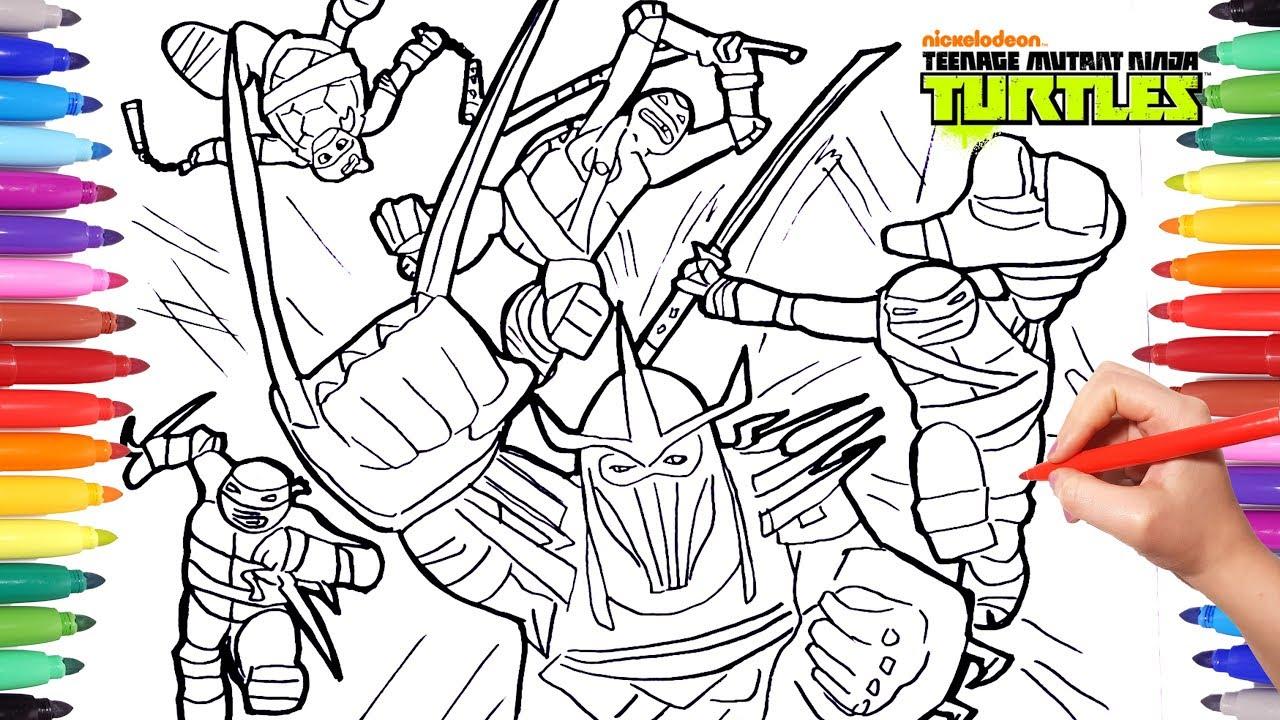 Ninja Turtles Battle Shredder Coloring Pages For Kids ...