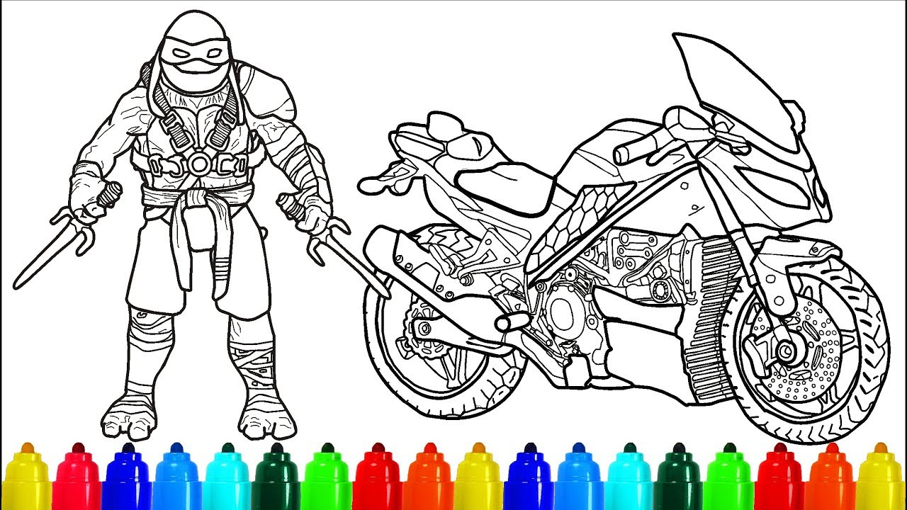 Tmnt Motorcycle Raphael Coloring Pages