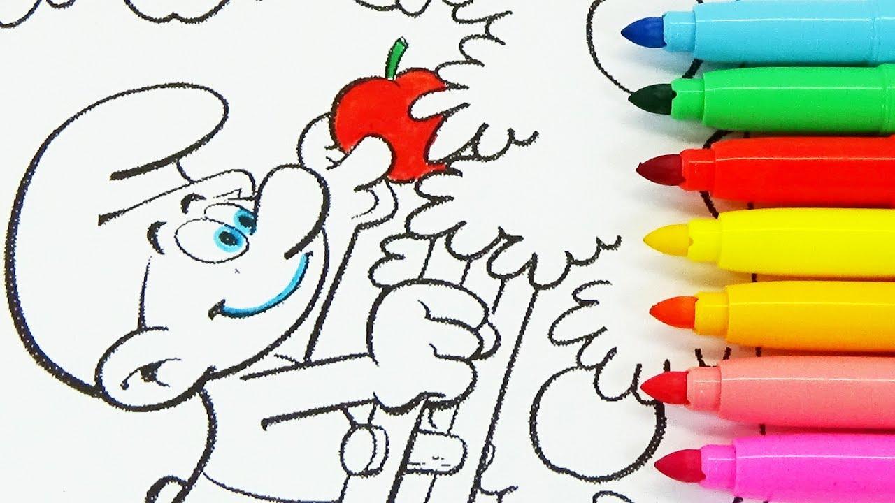 Rotuladores De Colores De Los Pitufos En La Aldea Escondida Para