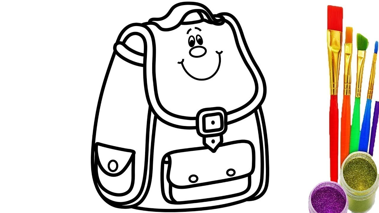 How To Draw School Bag For Kids Coloring Pages Videos For Children