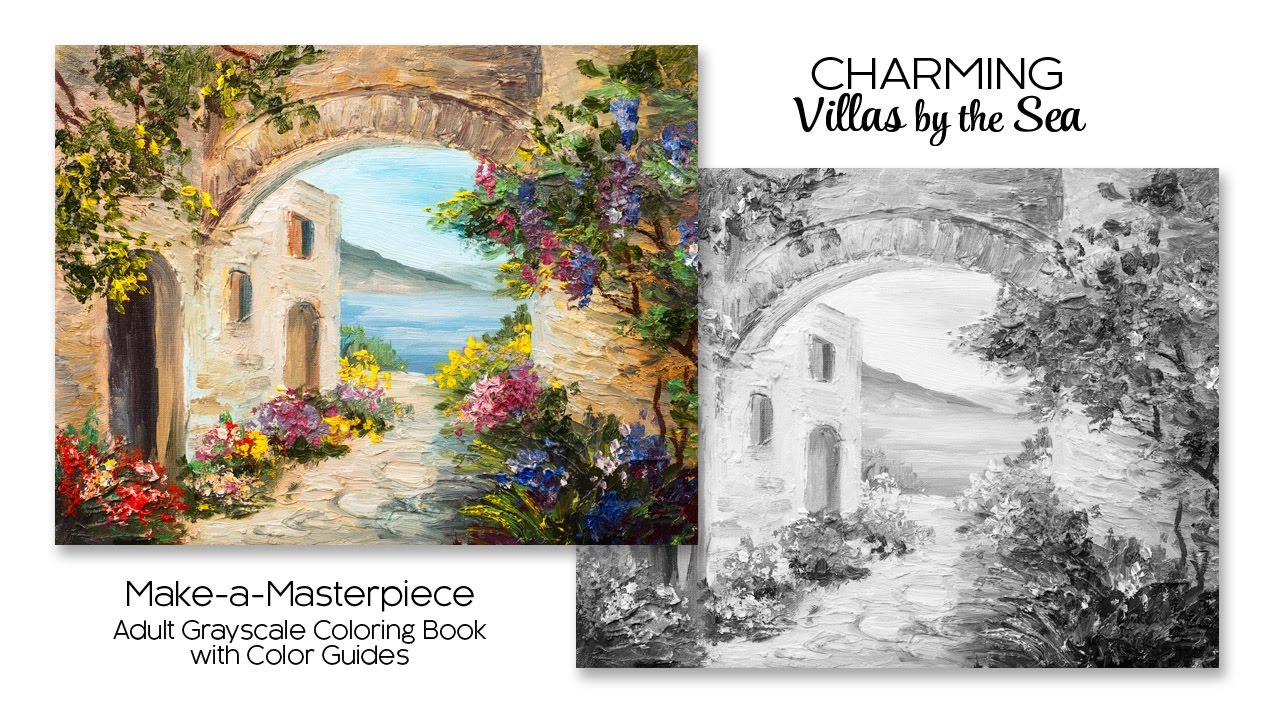 Charming Villas By The Sea ~ Adult Grayscale Coloring Book With