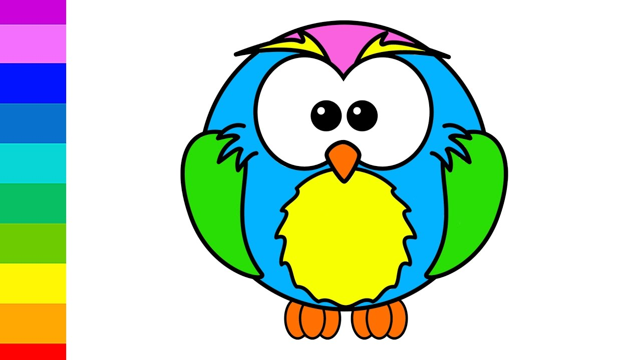 Learn Colors For Kids With Color Little Baby Owl Coloring Pages