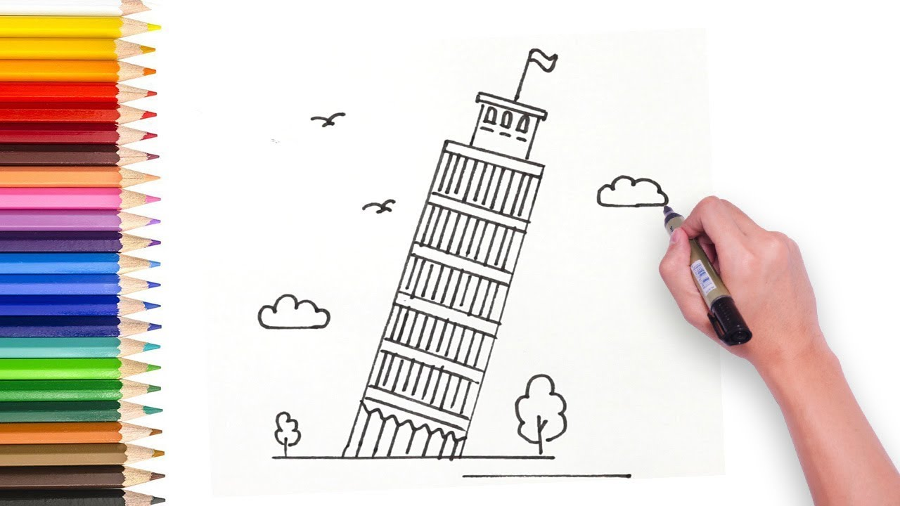 Learn How To Draw Tower Of Pisa Step By Step