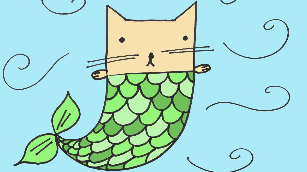 How To Draw A Mermaid Cat Step