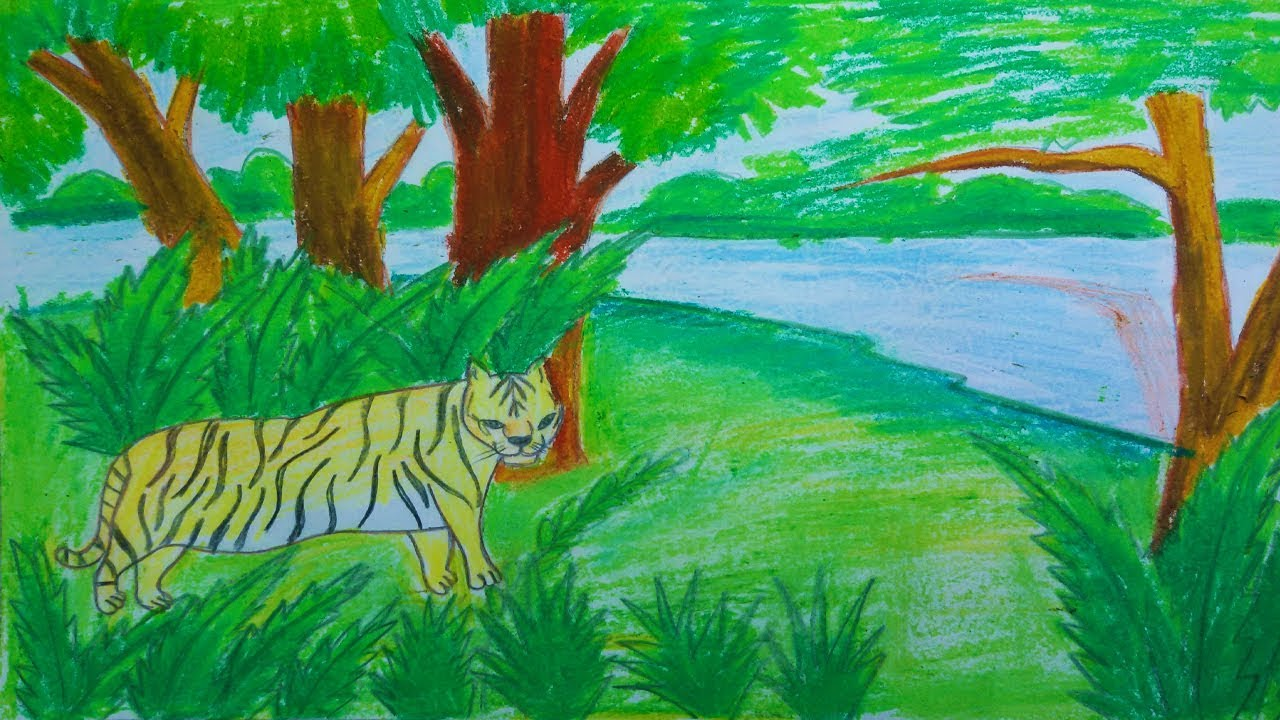 How To Draw Scenery Of Forest With Royal Bengal Tiger