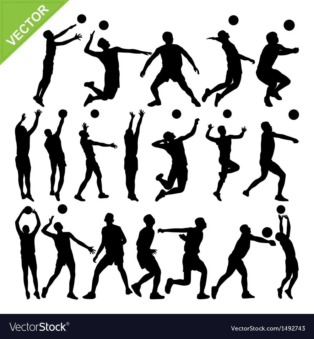 Men Volleyball Player Silhouettes Royalty Free Vector Image