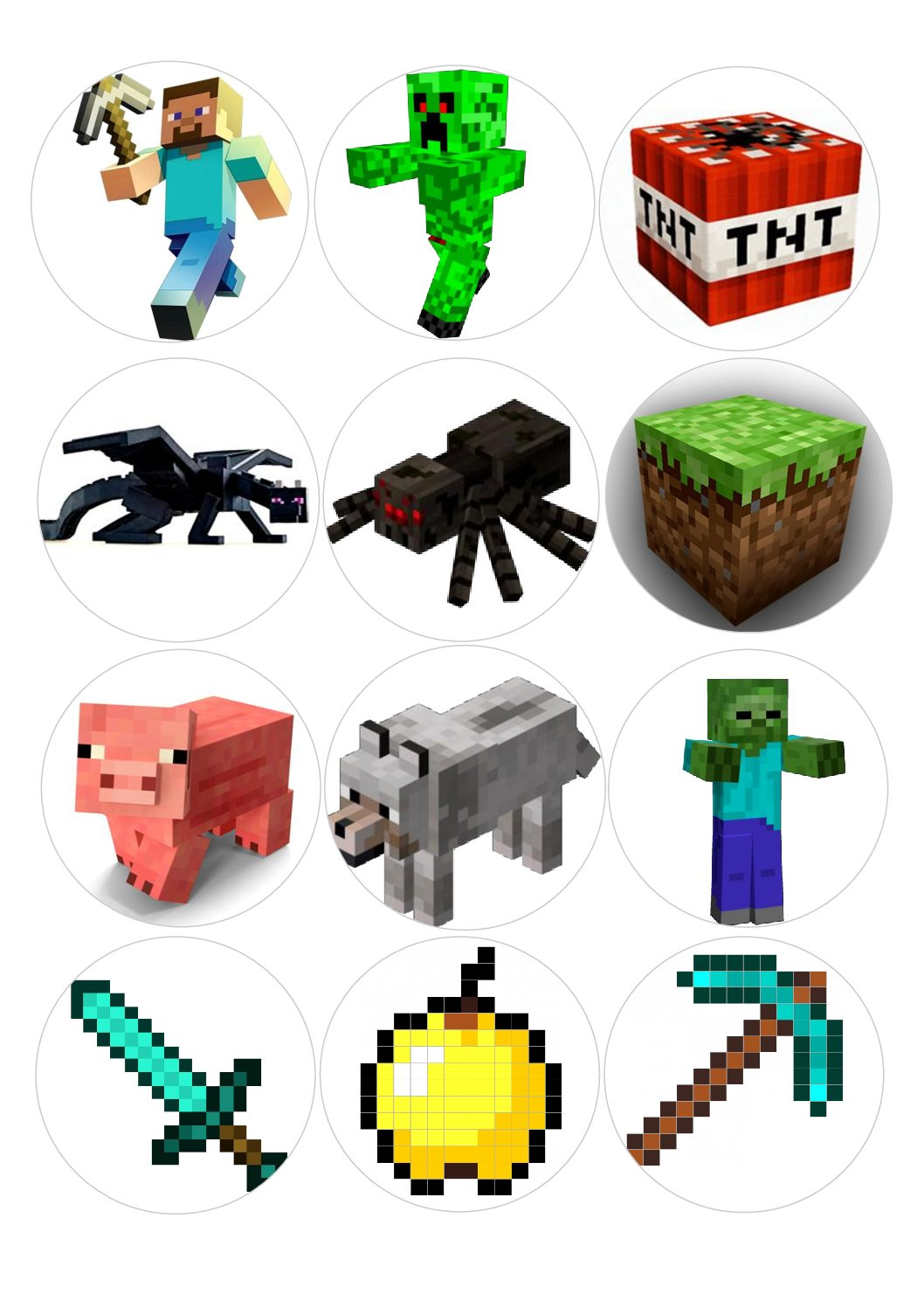 Minecraft 1 Sheet X 12 Cupcake Toppers For Edible Print Outs