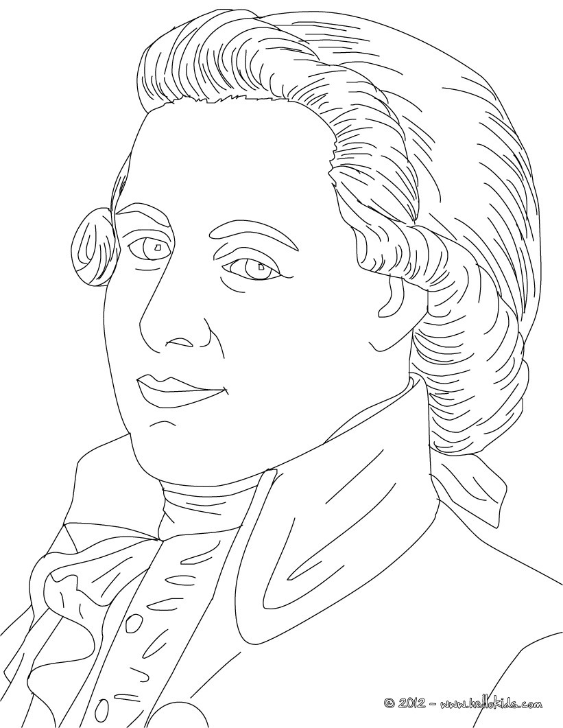 Wolfgang Amadeus Mozart Famous Austrian Composer Coloring Pages
