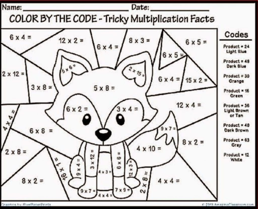 Multiplication Coloring Worksheets 4th Grade To Print