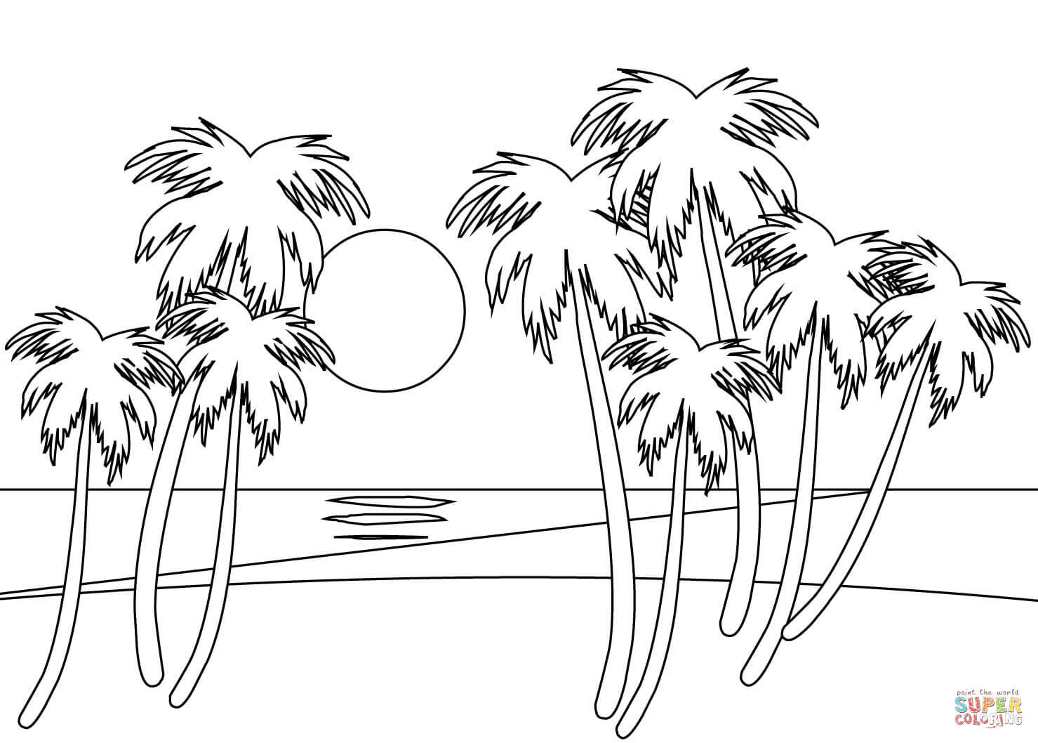 Tropical Beach Coloring Page