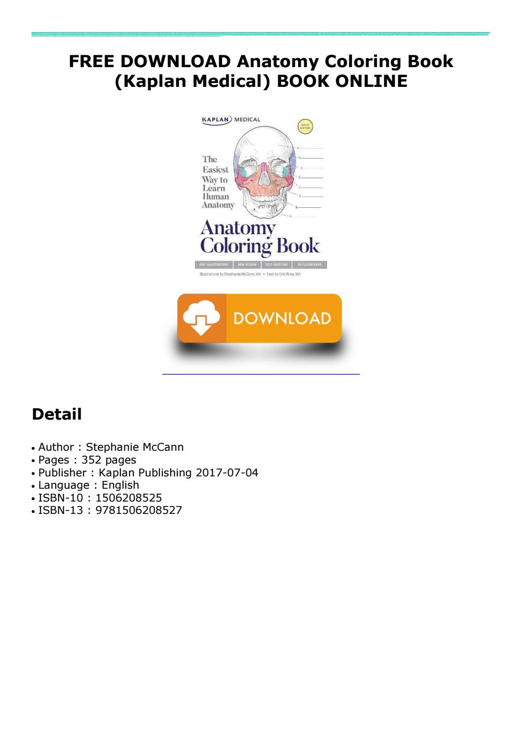 Free Download Anatomy Coloring Book (kaplan Medical) Book Online