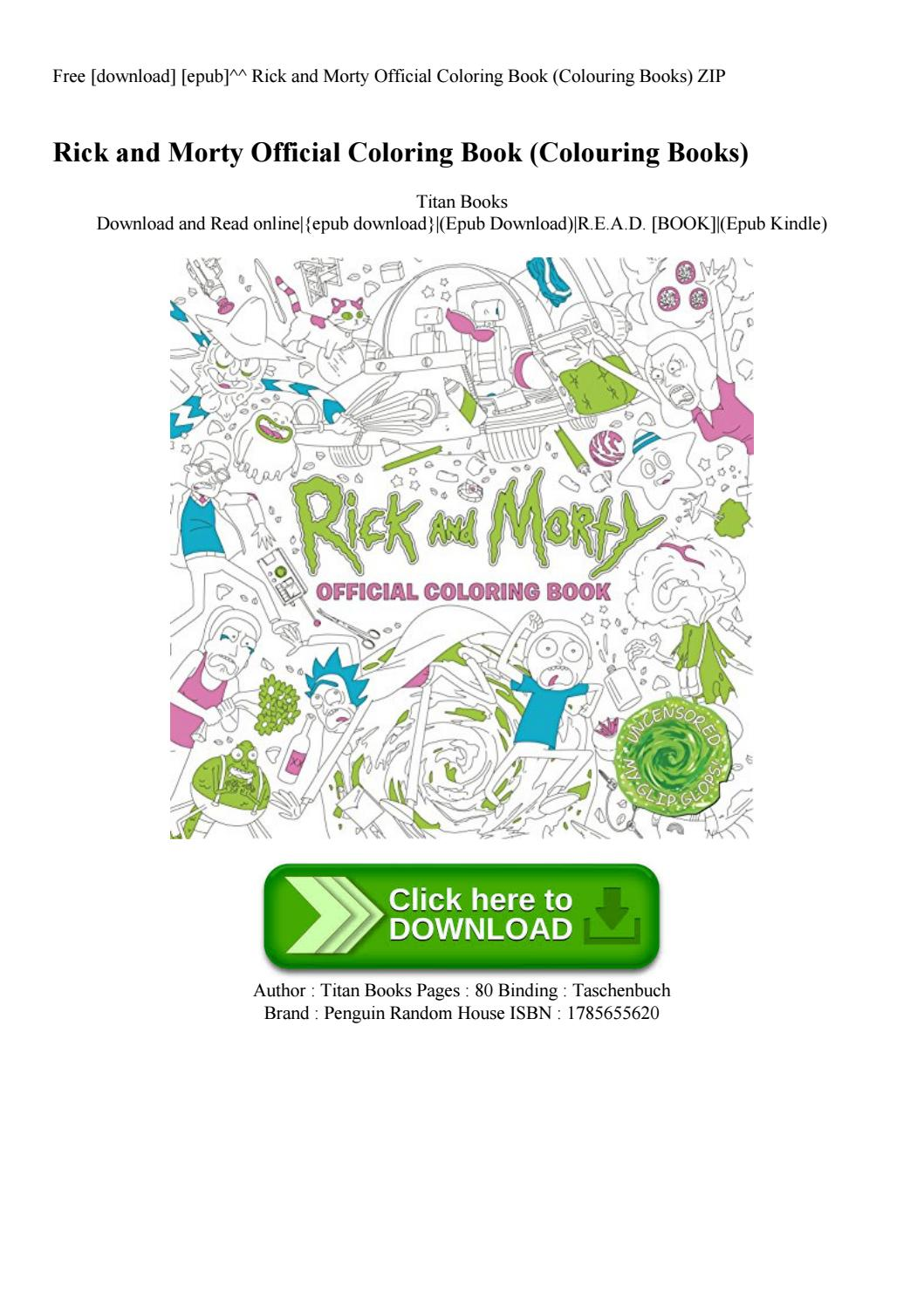 Free [download] [epub]^^ Rick And Morty Official Coloring Book