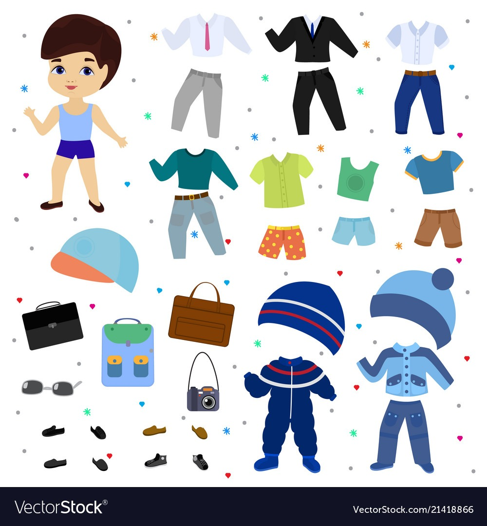 Paper Doll Boy Dress Up Clothing With Royalty Free Vector