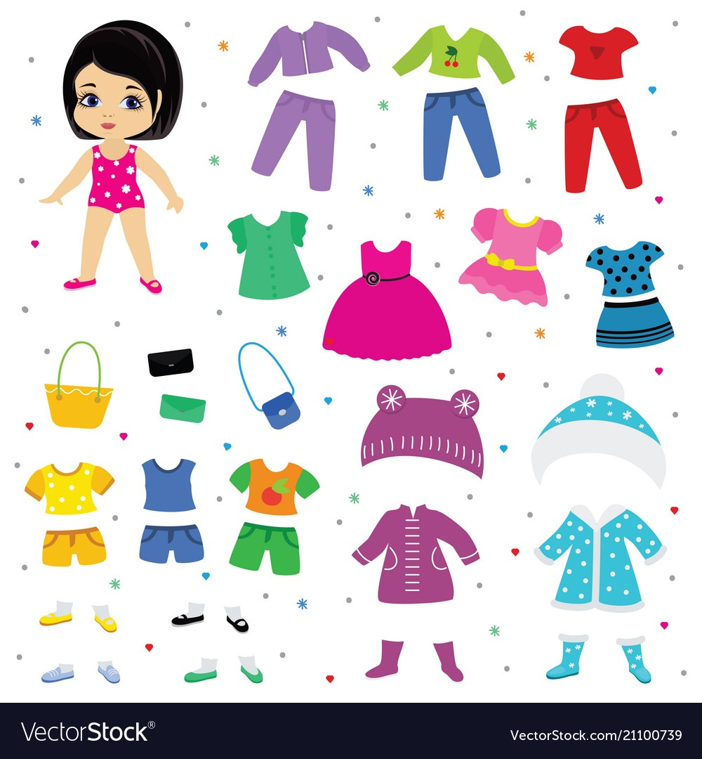Paper Doll Dress Up Or Clothing Beautiful Vector Image