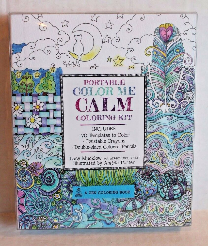 Portable Color Me Calm Coloring Kit With Crayons & Pencils Adult