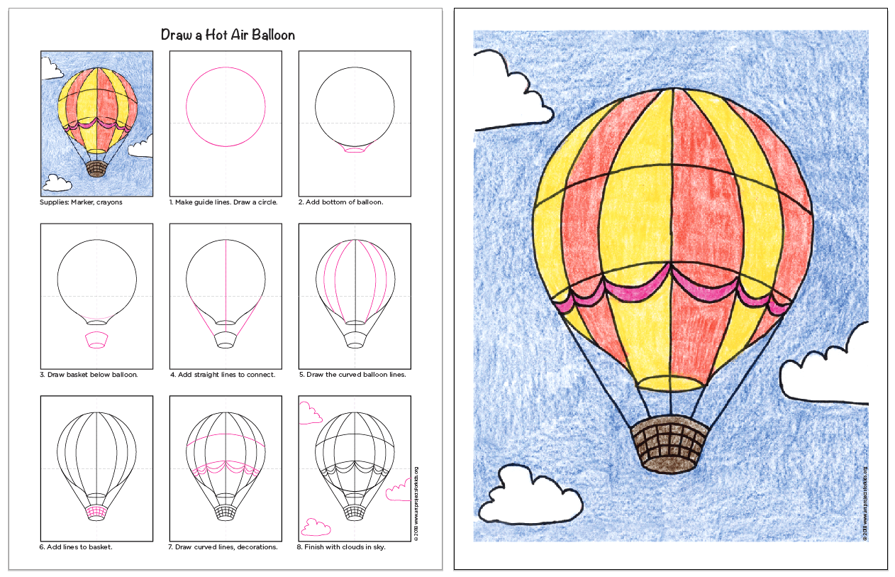 Draw A Hot Air Balloon · Art Projects For Kids