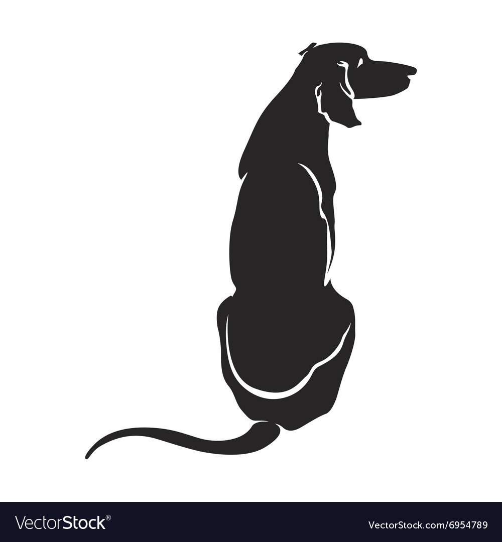 Silhouette Dog Sitting Royalty Free Vector Image