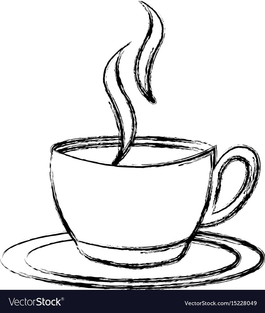 Sketch Draw Coffee Cup Cartoon Royalty Free Vector Image