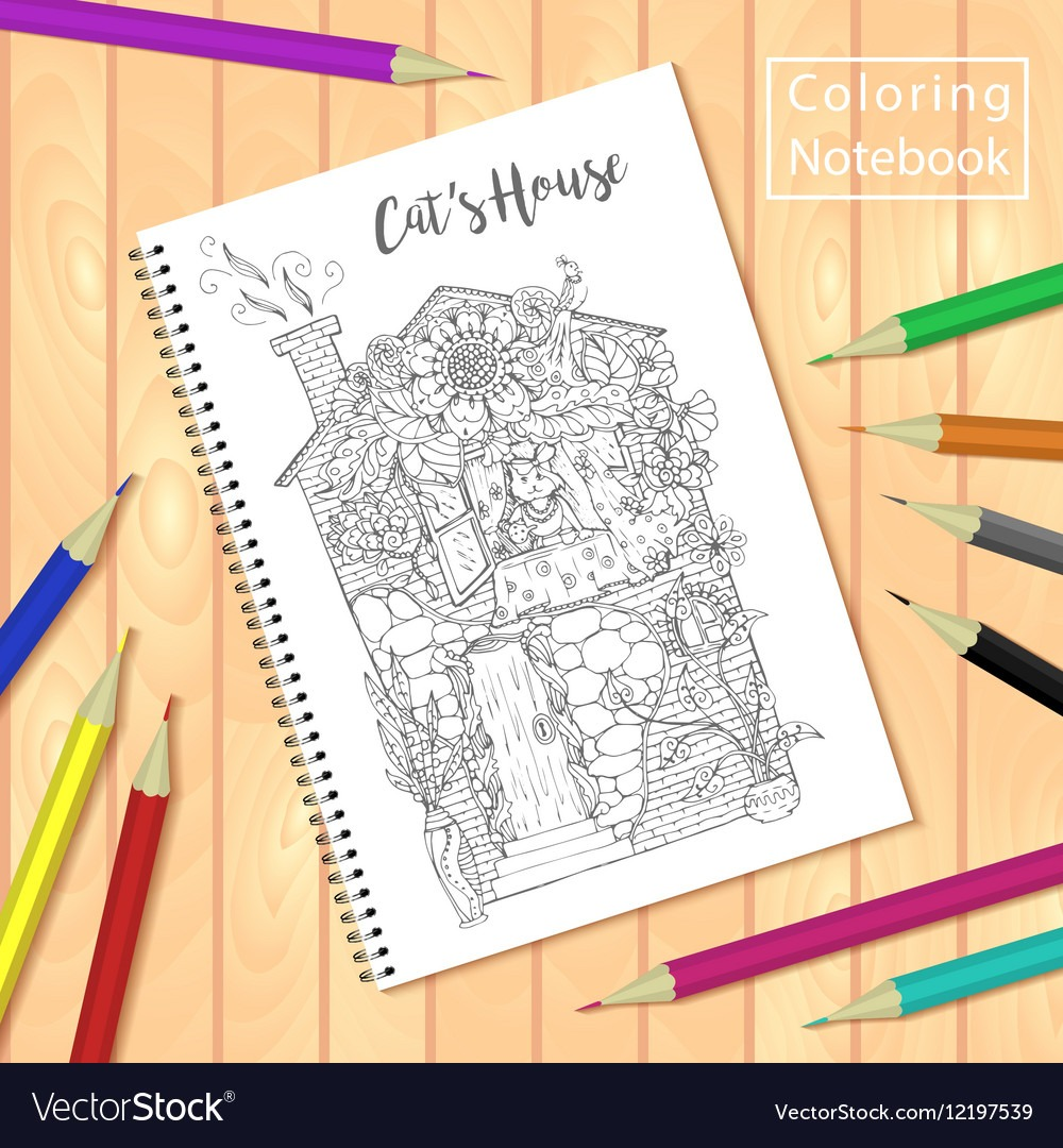 Spiral Bound Notepad Or Coloring Book With Pencils