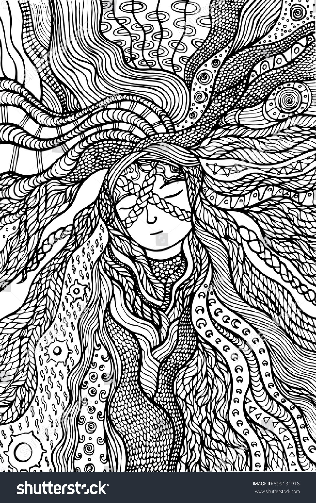 Fantasy Hippie Girl Hair Coloring Page Stock Vector (royalty Free