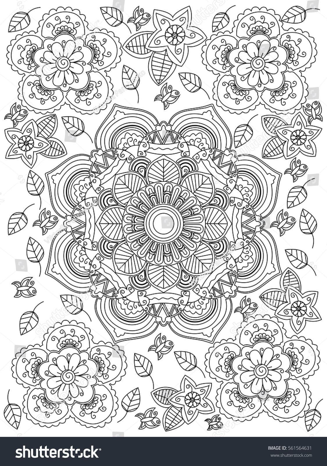 Mandala Flower Coloring Book Adults Vector Stock Vector (royalty
