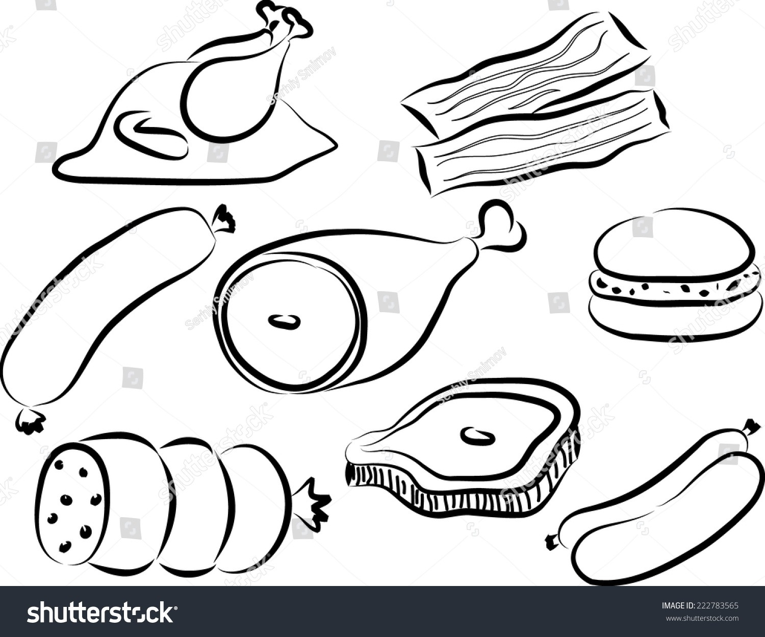 Meat Doodle Icon Vector Stock Vector (royalty Free) 222783565
