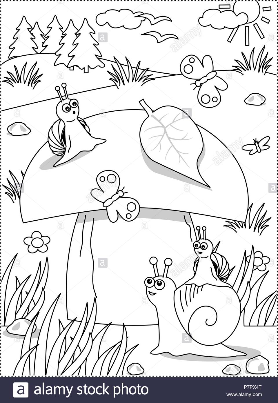Summer Or Autumn Joy Themed Coloring Page With Big Yummy Mushroom