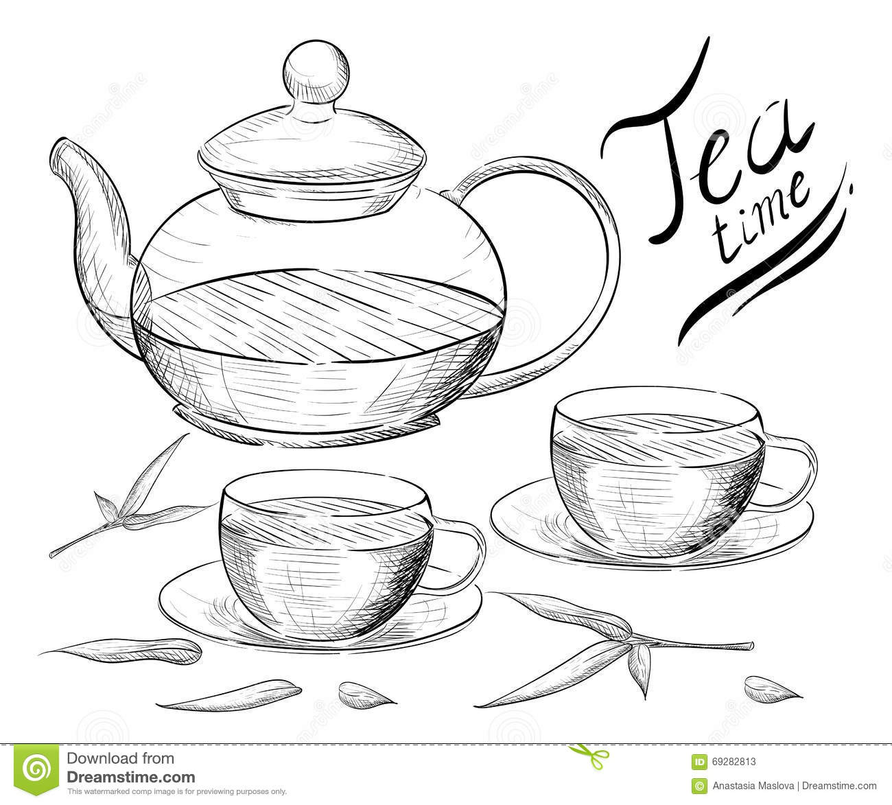 Tea Collection  Hand Draw Illustration  Tea Time  Tea Cup, Teapot